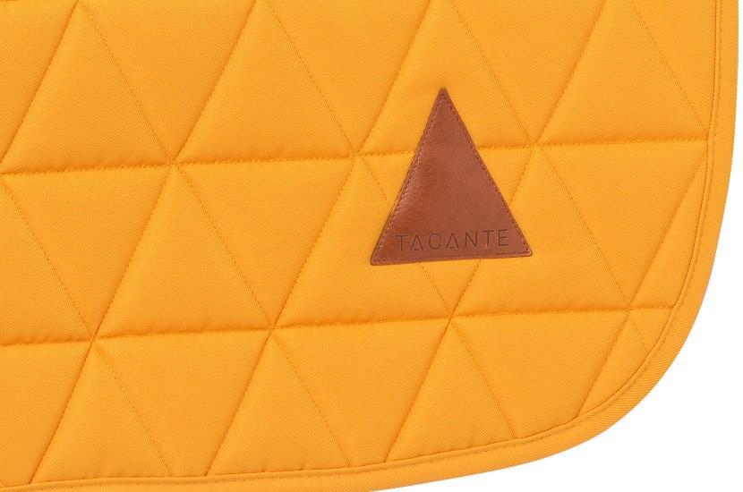 Tacante Tapis de selle EXCEL ANSE dressage jaune d'or zoom écusson