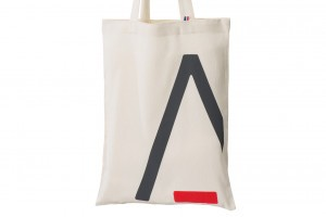 Tacante Tote bag écru logo A gris et rouge made in France 2