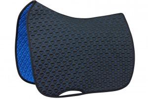 Tacante tapis de selle INFI-KNIT dressage bleu marine et bleu roi